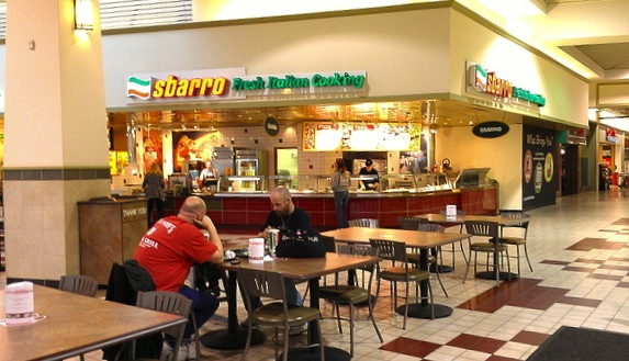 Typical North American mall food court