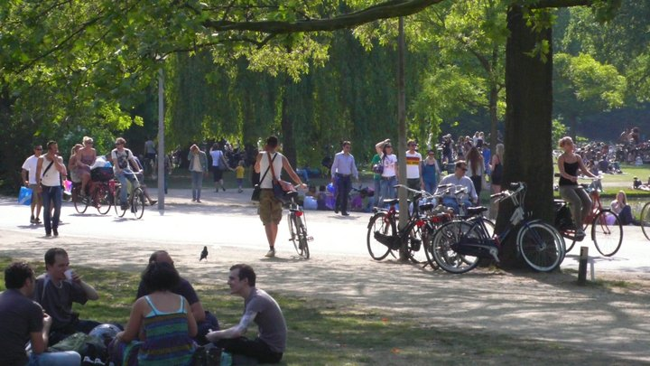 Cyclists in Vondel Park