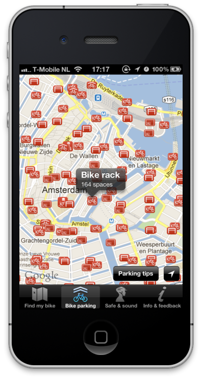 Bike Parking Locator in the App