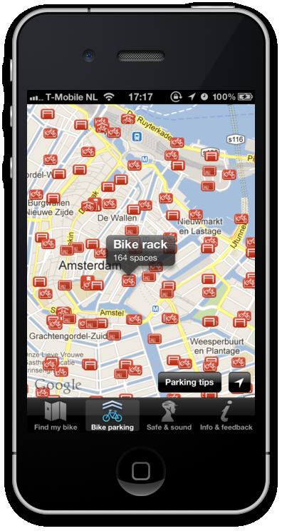 Bike Parking Locator in the App